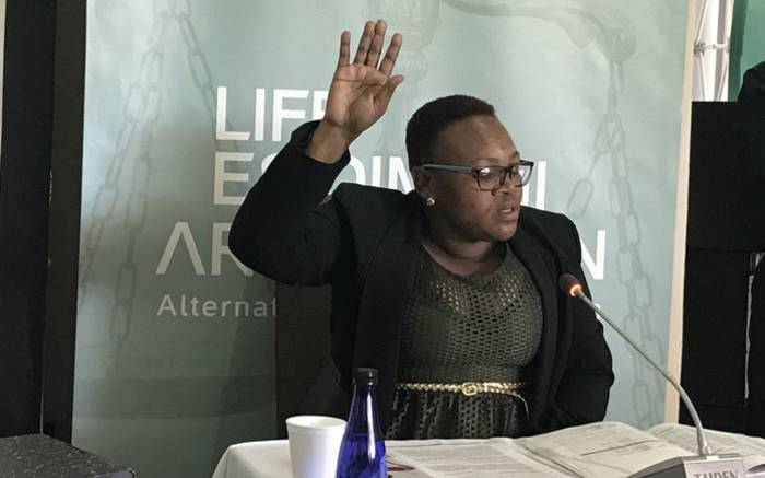Daphney Ndhlovu, a social worker at the Cullinan Care Rehabilitation Centre, testifies at the Life Esidimeni alternative dispute resolution process in Johannesburg on 16 October 2017. Picture: Masego Rahlaga/EWN