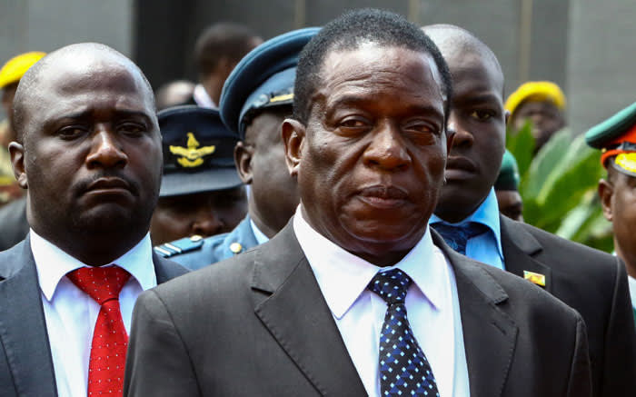 This file photo taken on 7 January, 2017 shows Zimbabwe acting President Emmerson Mnangagwa (C) attending the funeral ceremony of Peter Chanetsa at the National Heroes Acre in Harare. Picture: AFP