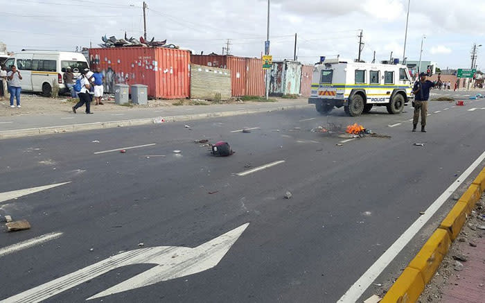 Two trucks set alight during Dunoon protests