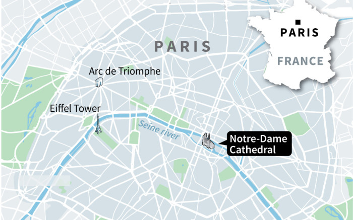 MAP: The Notre-Dame Cathedral fire
