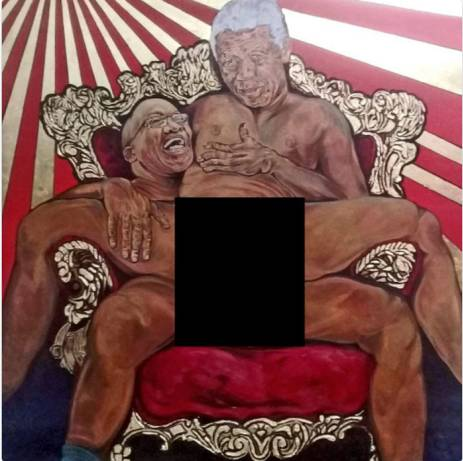 Image result for painting of zuma raping nelson mandela