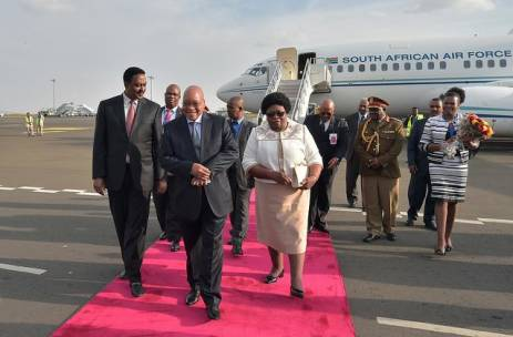 President Jacob Zuma arrives with wife Sizakele Khumalo at the Bole International Airport in Addis Ababa, Federal Republic of Ethiopia ahead of the 26th Ordinary Session of the Heads of States and Government of the African Union scheduled to take place from the 30th to the 31 January 2016. Picture: GCIS