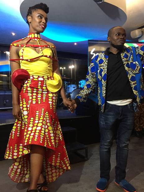 Designer Wilson Muyeka with a model wearing one of his creations ahead of the Indaba 2017 tourism event in Durban. Picture: Winnie Theletsane/EWN