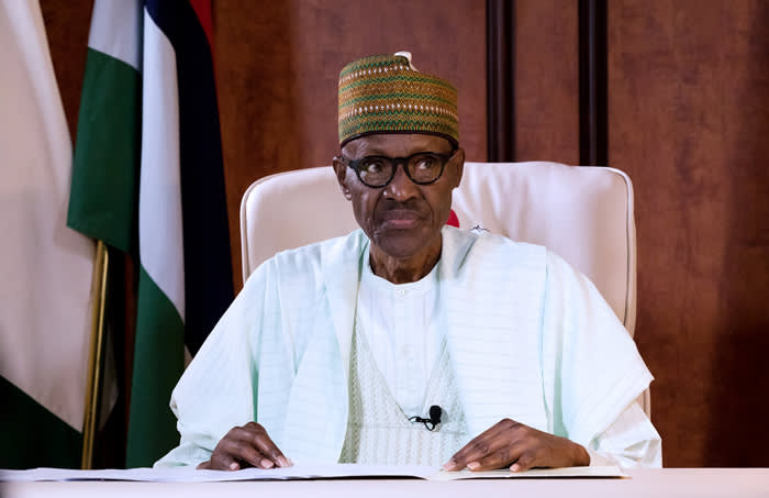 Nigerian President Mohammadu Buhari addressing the nation on state television in his first speech since returning from a long medical absence in Britain, in a bid to dampen mounting separatist tensions in the country. Picture: AFP.
