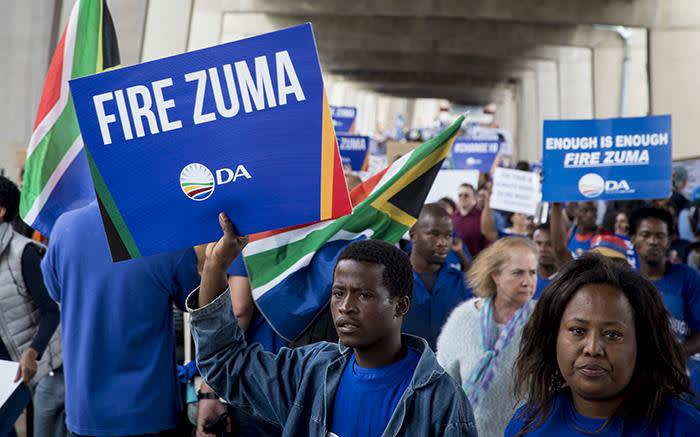 DA supporters joined the #DAMarch as they marched to Mary Fitzgerald square in Johannesburg against the leadership of President Jacob Zuma on 7 April 2017. Picture: Reinart Toerien/EWN.