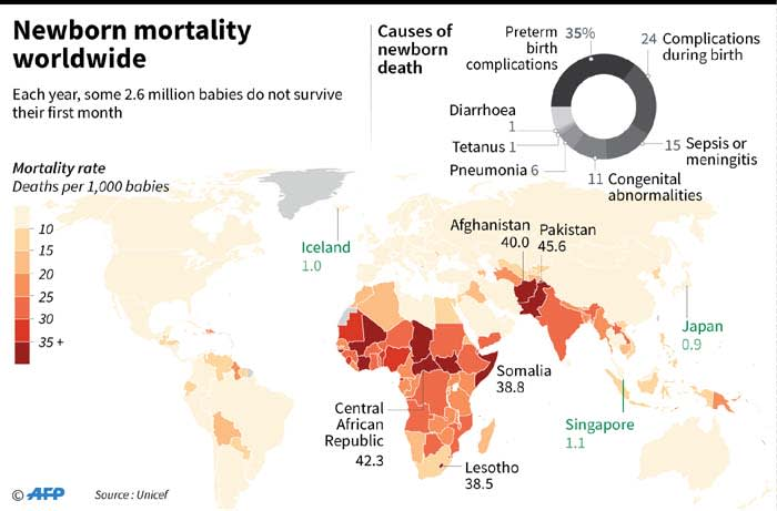 Mortality rate by country and main causes of newborn deaths.