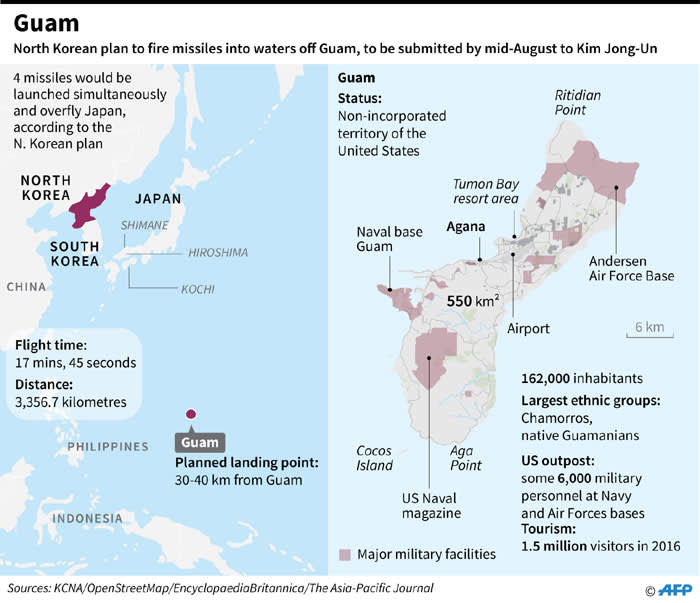 North Koreas Plan To Fire Missiles At Guam - Guam on a us map