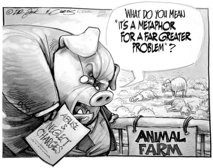 animal farm what are the Part of the trouble lies in the fact that the story is too close to recent historical events without being close enough major, the aged pig who on his deathbed tells the animals of their oppression and prophesies revolution, must be karl marx.
