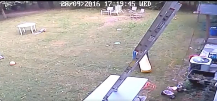 [WATCH] Ouch! Man falling from roof after balancing ladder on table goes viral