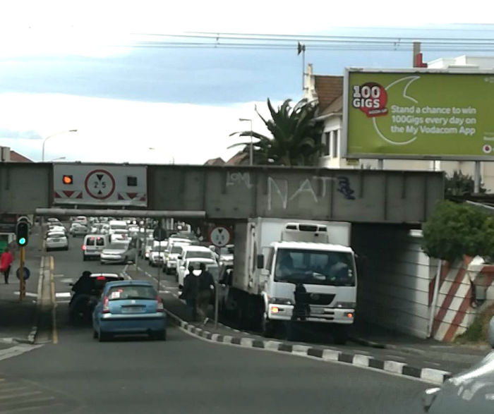 Another truck stuck under Muizenberg Bridge (will they ever