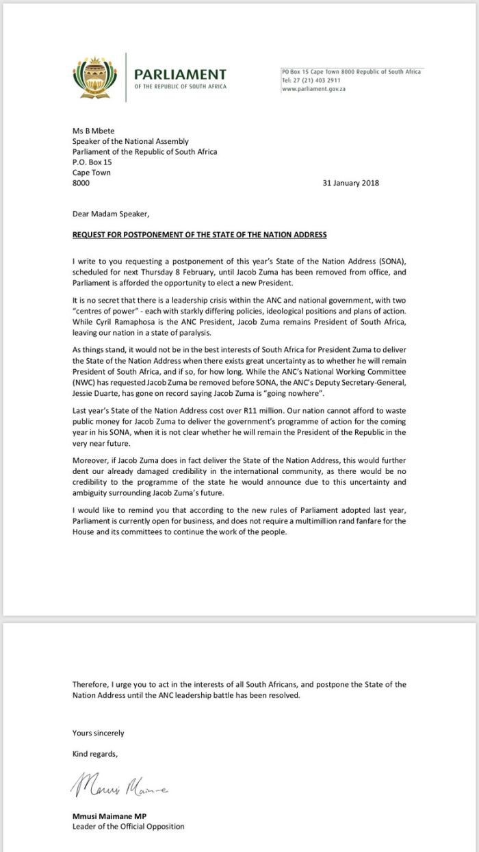 meanwhile the united democratic movement udm has also released a statement requesting all opposition parties to meet on 2 february to discuss