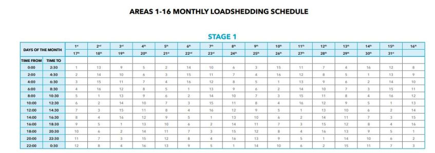 Eskom Load Shedding Schedule Picture: Here's How To Check Your Load Shedding Schedule In Cape Town