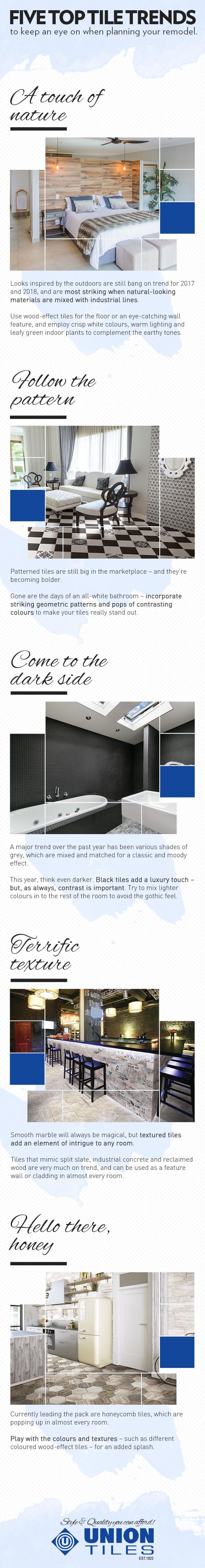 take a look as they outline the top five musthave tile trends for this year u2013 then visit for birthday specials and some more