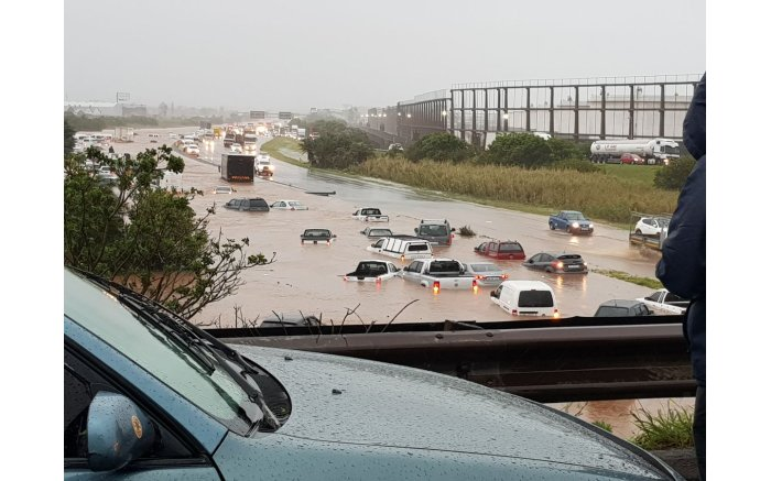 Cars submerged in rainwater #DurbanStorm