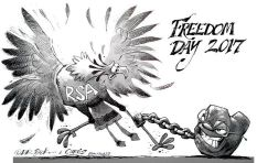 [Cartoon] Freedom shackled