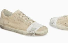 $500 distressed tatty taped sneakers accused of glorifying poverty