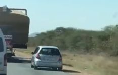 [WATCH] Reckless driver almost bites the dust after trying to overtake a truck