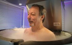 "John Maytham chills in a cryotherapy ""sauna"""