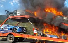 Hillclimb historic racing cars catch fire