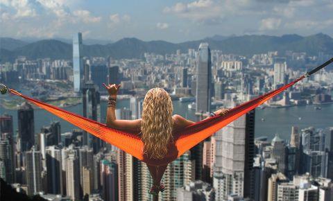 Woman hammock Hong Kong