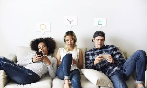 Young women men using cell phones cellphone data 123rflifestyle 123rf