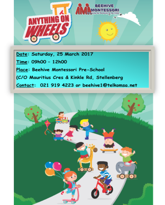 Beehive Montessori Pre-School presents the Anything on Wheels fundraiser