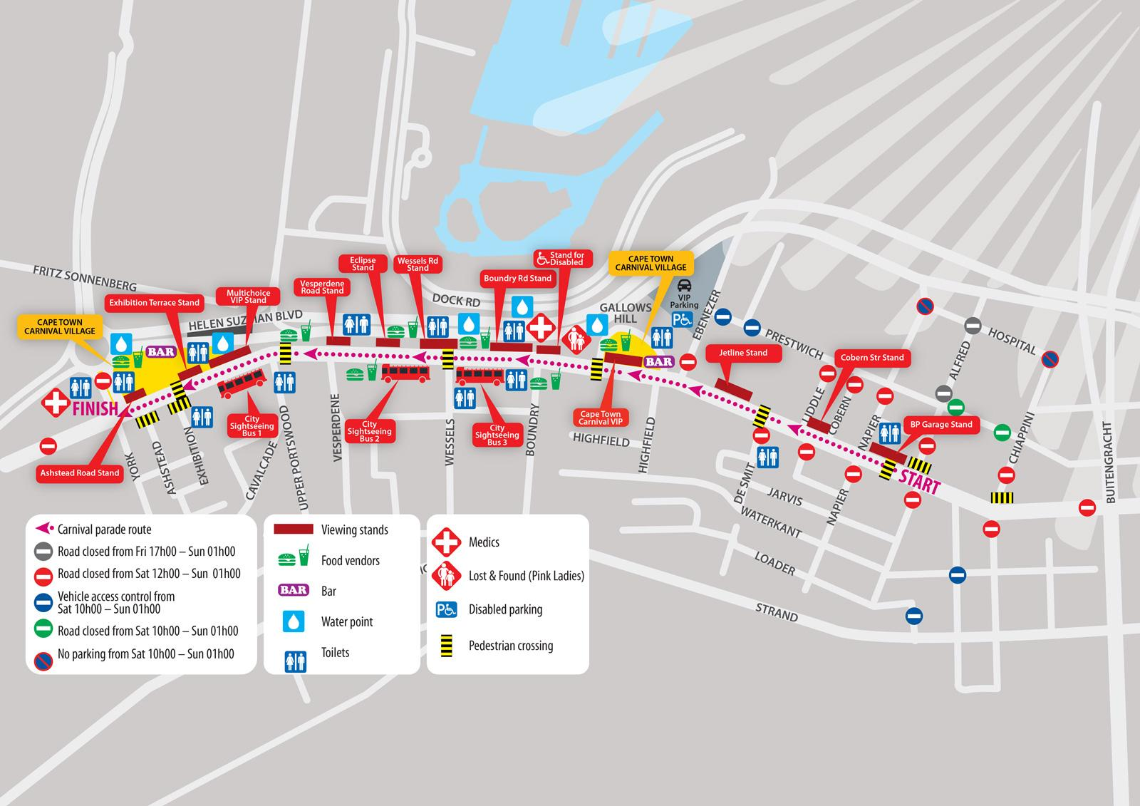 Cape Town Carnival Event Map 2018