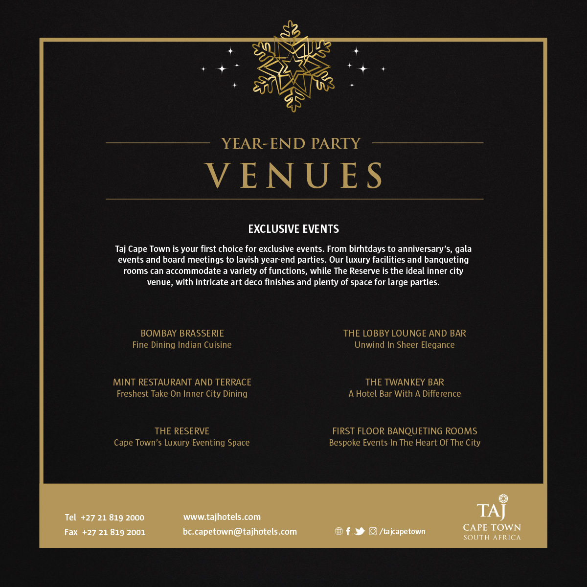 Year End Party Venues