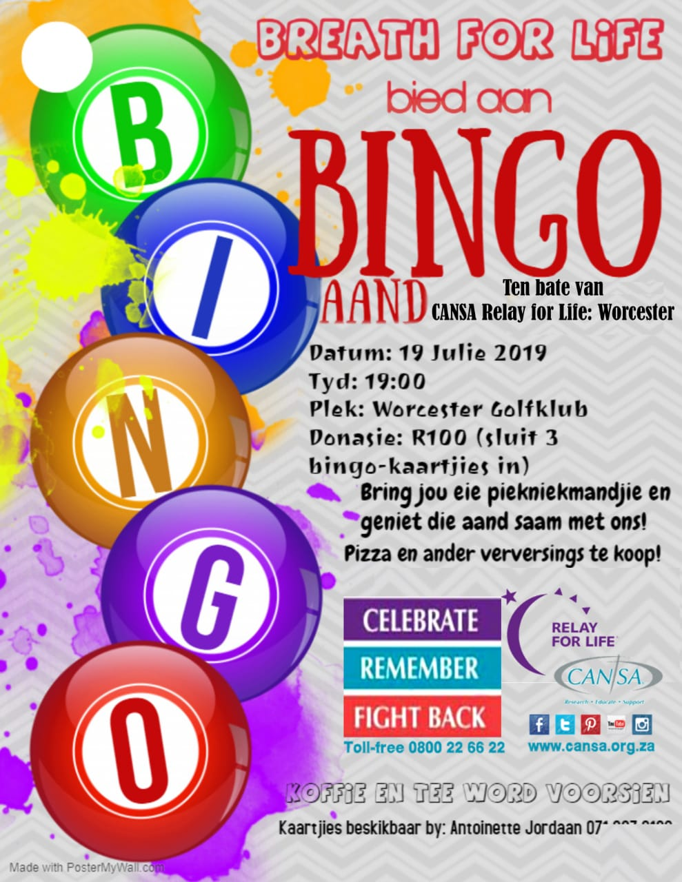 Bingo evening in aid of Cansa Relay for Life (Worcester)