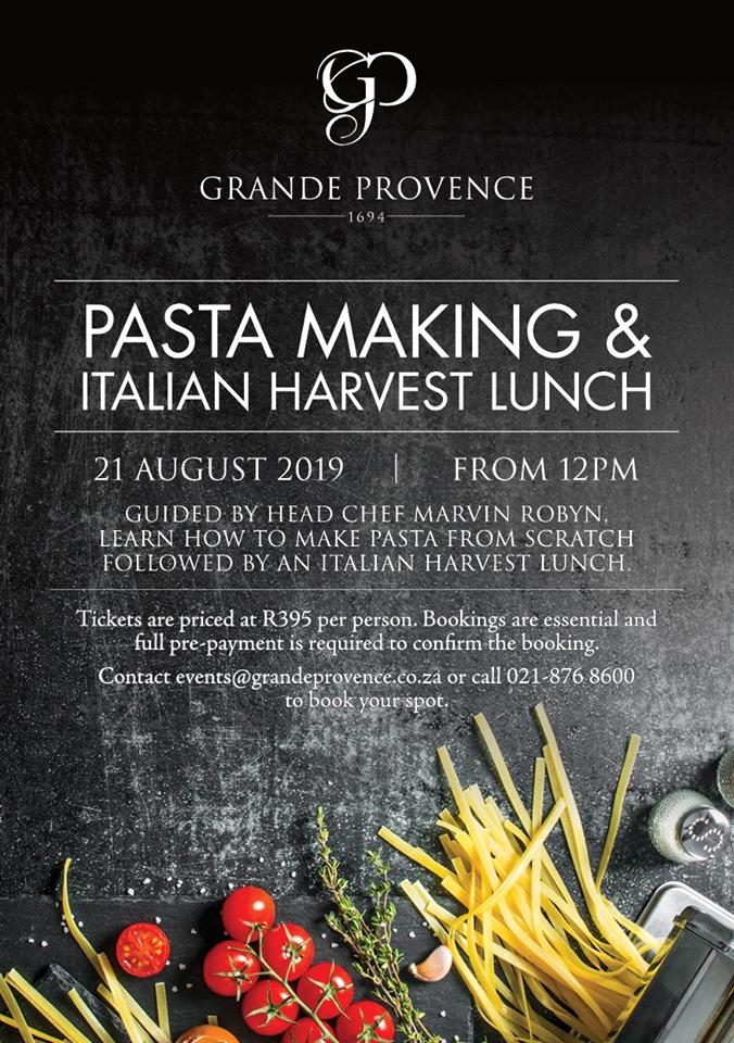 Grande Provence Women's Month pasta making workshop