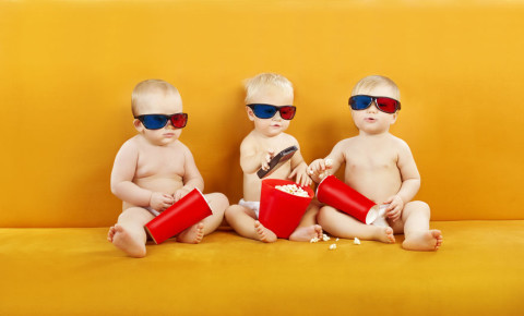 Baby babies 3D Glasses Watching TV television Eating Popcorn 123rf