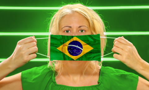 Brazil brazilian covid-19 flag mask 123rf