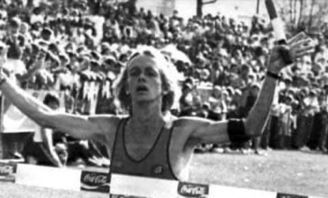 Bruce Fordyce wins 1981 Comrades Marathon, wearing black armband