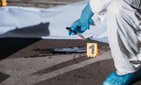Criminologist latex gloves knife corpse crime scene police 123rfpolitics 123rf