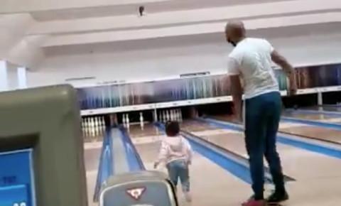 2021-02-23 Dad and toddler at bowling