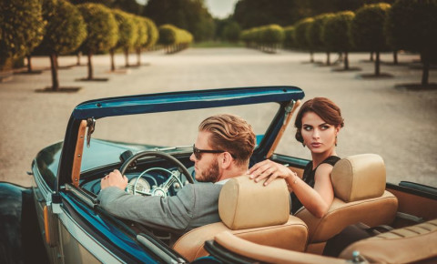 rich wealthy couple convertable 123rf