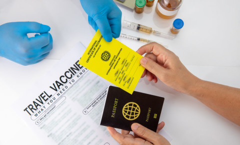 Doctor with yellow vaccination certificate passport for travel abroad 123rf