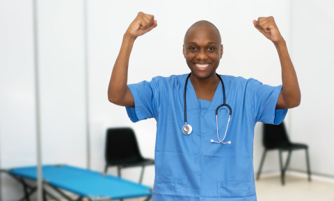 Happy motivated healthcare worker 123rf