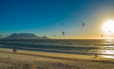 Kite surfers in Cape Town Blouberg beach Bloubergstrand