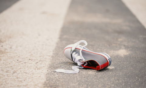 Pedestrian knocked down child shoe road accident 123rf