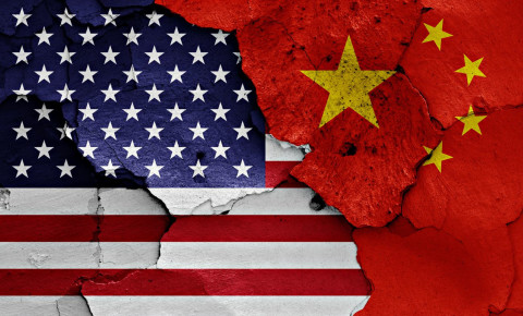USA US United States China flags 123rf