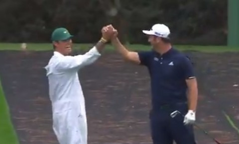 Video screengrab golfer Jon Rahm hole-in-one at practice week The US Masters