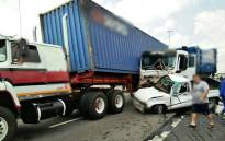 It's understood the truck crashed after its brakes failed on Saturday afternoon on the N1 North around 14th Avenue, causing a multi-vehicle pile-up. Picture: @Netcare911_sa.