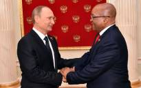 FILE: Russian president, Vladimir Putin and President Jacob Zuma. Picture: GCIS.