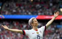 United States' forward Megan Rapinoe celebrates scoring her team's first goal during the France 2019 Women's World Cup quarter-final football match between France and United States, on 28 June 2019, at the Parc des Princes stadium in Paris. Picture: AFP