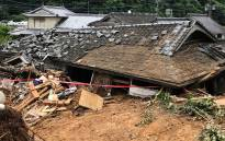 A general view shows a collapsed house following a landslide caused by torrential rain in Ashikita, Kumamoto prefecture on 5 July 2020. Picture: AFP