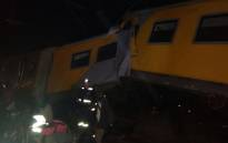 A train derailed and crashed into a stationary train between the crown and Booysens stations. Picture: Govan Whittles/EWN.