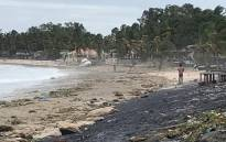 FILE: This handout picture released and taken on 26 April 2019 by the World Food Programme shows the battered coast of Wimbi Beach in Pemba as Cyclone Kenneth hit the north coast of Mozambique in Cabo Delgado province. Picture: AFP