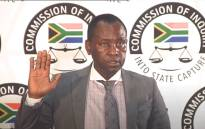 Former Mineral Resources Minister Mosebenzi Zwane takes the oath at the state capture commission on 13 May 2021. Picture: YouTube screengrab/SABC.