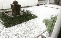 Hailstones seen outside a home in Somerset West. Picture: Murray Williams/Twitter